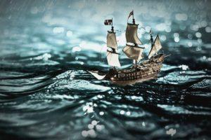 揺れる小舟